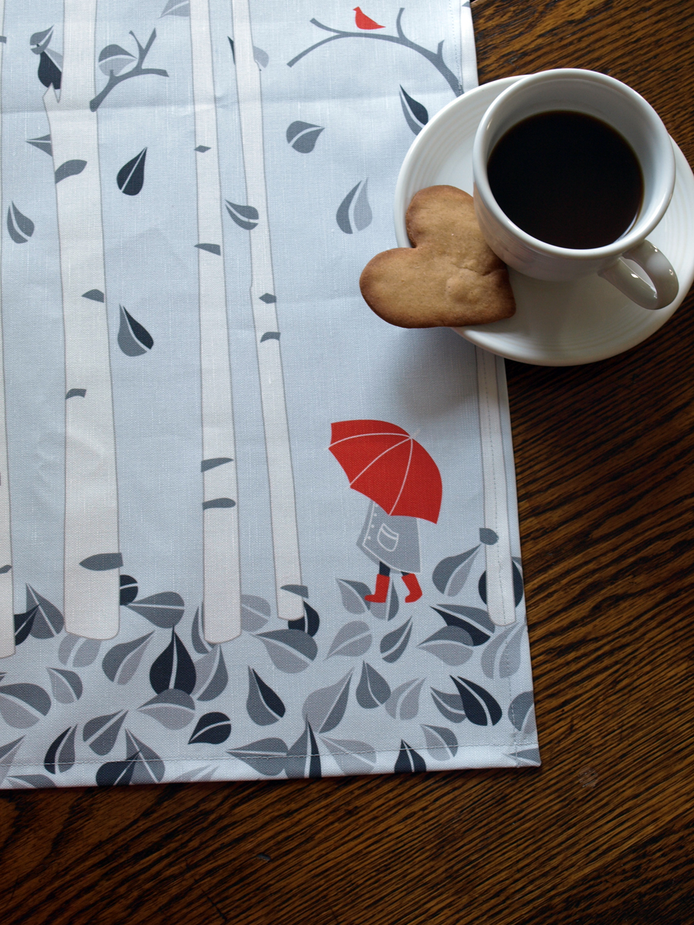 After many, many requests at the Swedish Yuletide Market in Boston, I now offer my birch tree pattern as a tea towel (16x25 inches). Thank you all for the suggestion!   (See another design you would like in a different product than we offer?  Weigh in on our facebook page !)