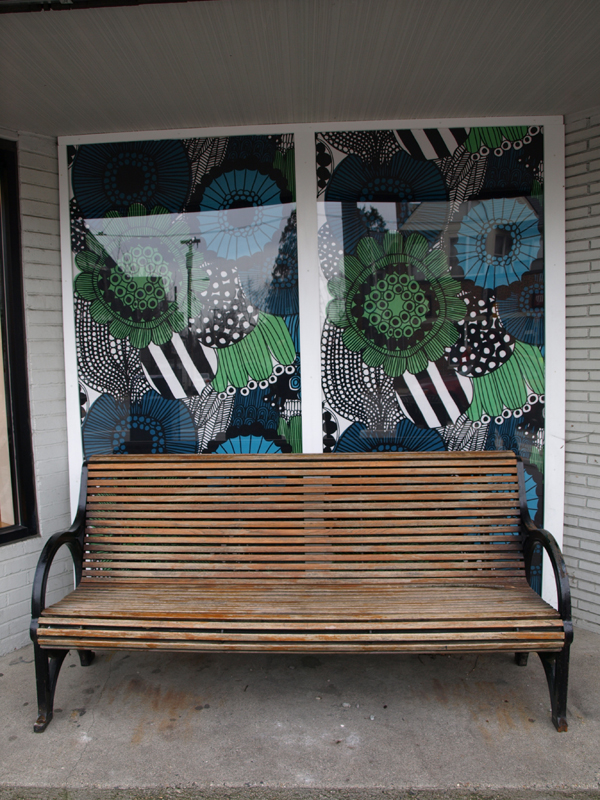 Excited to see the old bus stop I use to wait at on my way to high school livened up with this Marimekko print. I have a couple yards of this fabric a dear friend sent me… planning some projects around the house with it for the New Year!