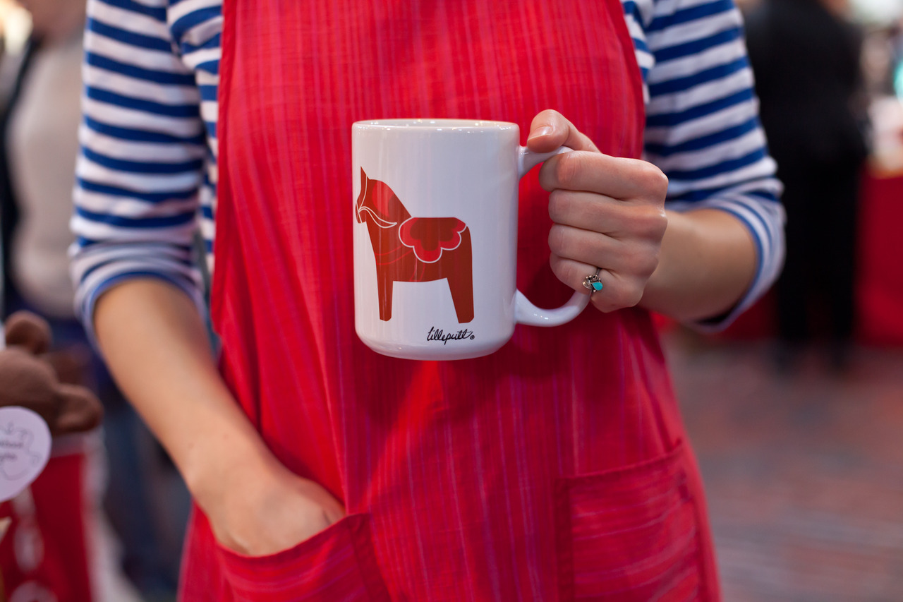 Glad  JClements Photography  arrived in time to snap a photo of our newest product before they disappeared! Printed in Maine, a nice sturdy coffee mug with our Red Dala horses.    Going to try and get a couple in the shop this week! Keep a look out.     Photo Credit, of course!      JClements Photography