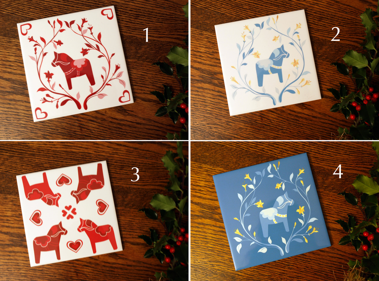 Looking for opinions! I'm working on some quick last minute products for the Swedish Christmas Market on the 15th, and I have these color samples on ceramic trivets… trying to decide which ones to have made.    I'd love to know your order of preference favorites first, least favorite last (4,3,1,2 etc). Which are your favorites? Weigh in  on our facebook page , or leave a comment below. Thanks a bunch!
