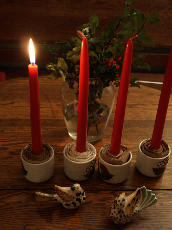 My Swedish advent candles are a little makeshift this year but they do the trick! Once the snow melts (for the 50 degree weather tomorrow, what?) maybe I'll find some moss to put at the bases! And next time I'm down visiting I'll have to remember to grab one of the ceramic advent candle holders my mom has made to replace these little cups…