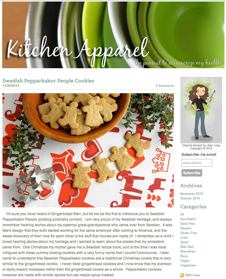 Kitchen Apparel, November 2012 Click here for full blog post and recipe.