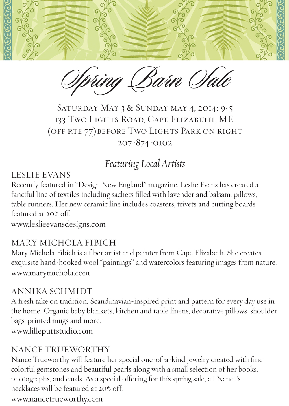 It's official! Mark your calendars, the Cape Elizabeth Barn Sale is happening again, May 3rd and 4th. Just in time for Mother's Day...