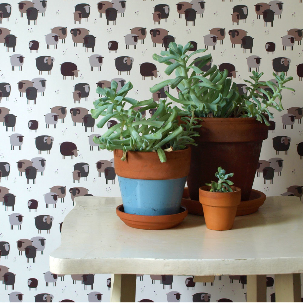 Brown Sheep Wallpaper,  Purchase by the yard here