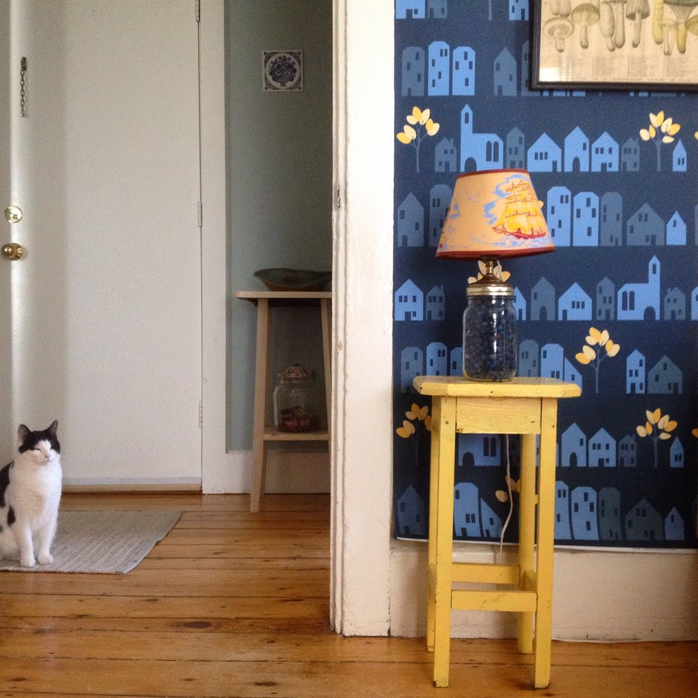 Ronneby Wallpaper (Midnight Blue),  Purchase by the yard here