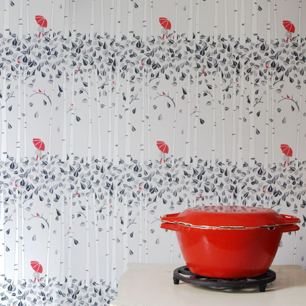 Birch Trees/Red Umbrella Wallpaper,  Purchase by the yard here