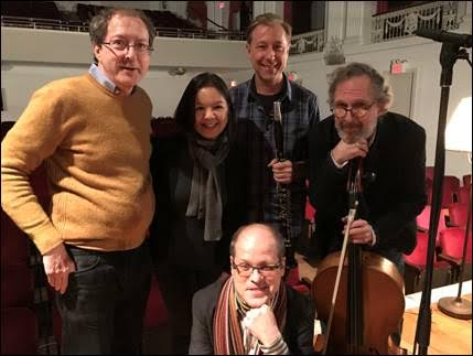 Recording session of Spring Fever -Don Mokrynski,clarinet, Kurt Briggs,violin, Matt Goeke,cello and Renee Cometa Briggs piano