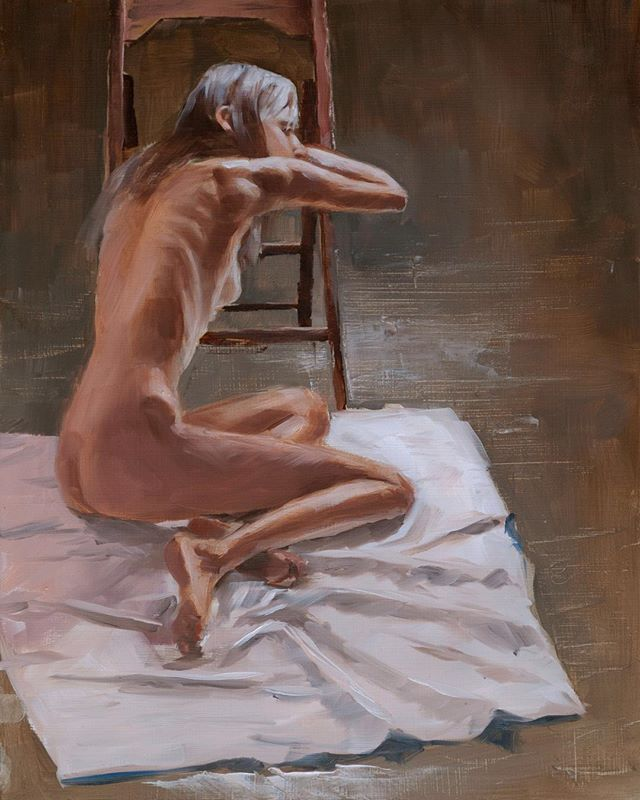 Oh hey, I did actually do a bit more with this painting. The was the final session.  #painting #livemodel #oilpainting