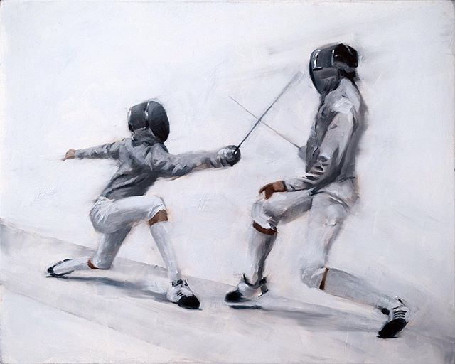 The second day at the Arnold was spent painting whatever you wanted, so long as the source material originated at the Arnold. They had fencing, and I'm pretty sure fencing was made to look cool. Easy choice. This piece also got an honorable mention at the end of the show. I was very honored. #asf2017 #fencing #allaprima