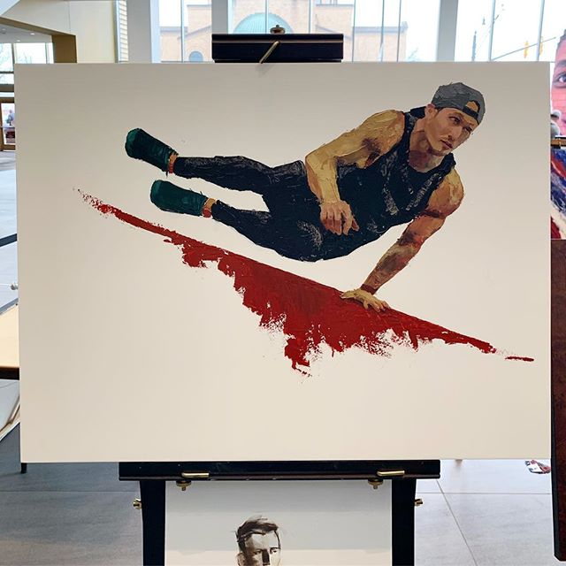 Don't know who this is, but he did a great job, and I painted him.  #artatthearnold #americanninjawarrior #parkour #arnoldsportsfestival2019 #asf2019 #arnoldsportsfestival #allaprima #arnoldclassic #arnoldclassic2019 #oilpainting @artatthearnold @mlabohio @midwaylabsusa