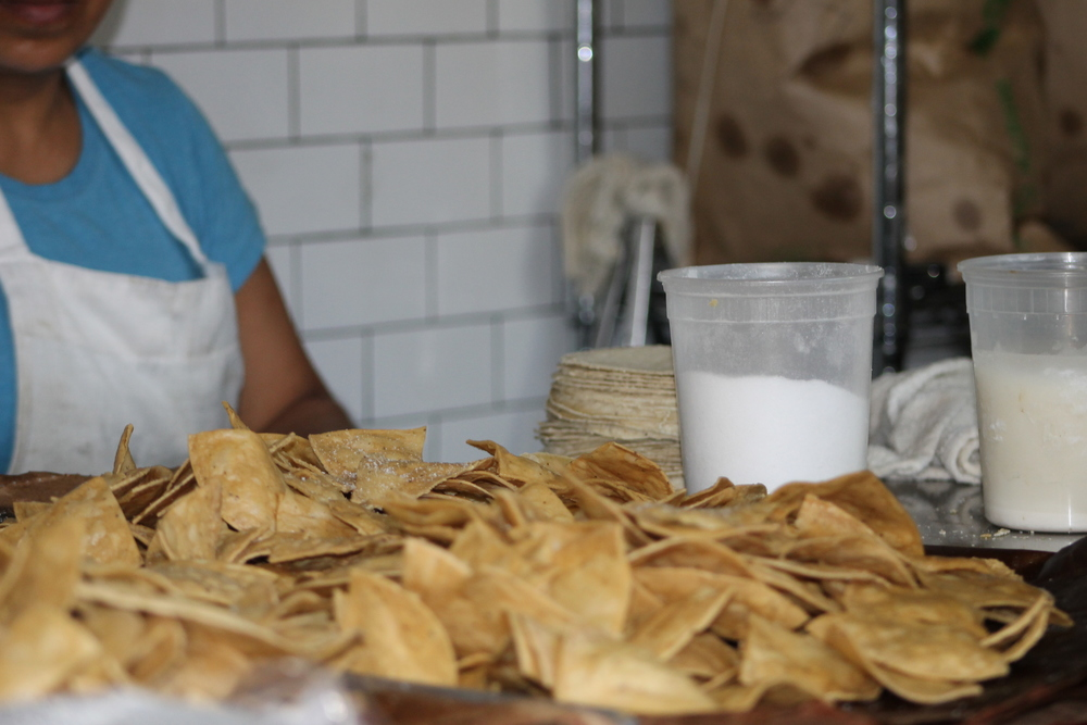 Fried-to-order tortilla chips at Tortilleria Nixtamal.