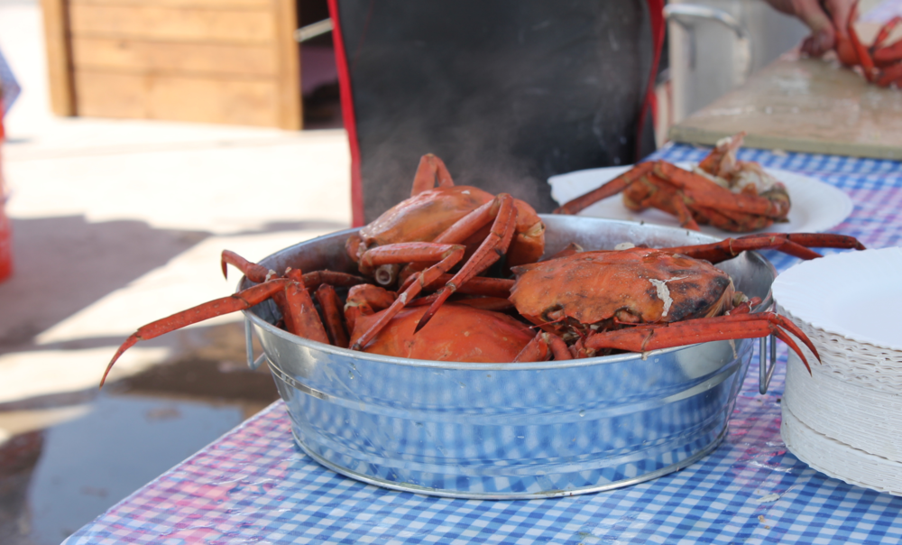 Deep-sea red crabs fresh out of the steamer.