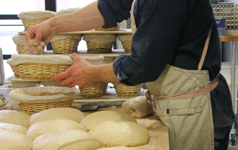 Flour is required in the proofing baskets so the rising loaves don't stick.