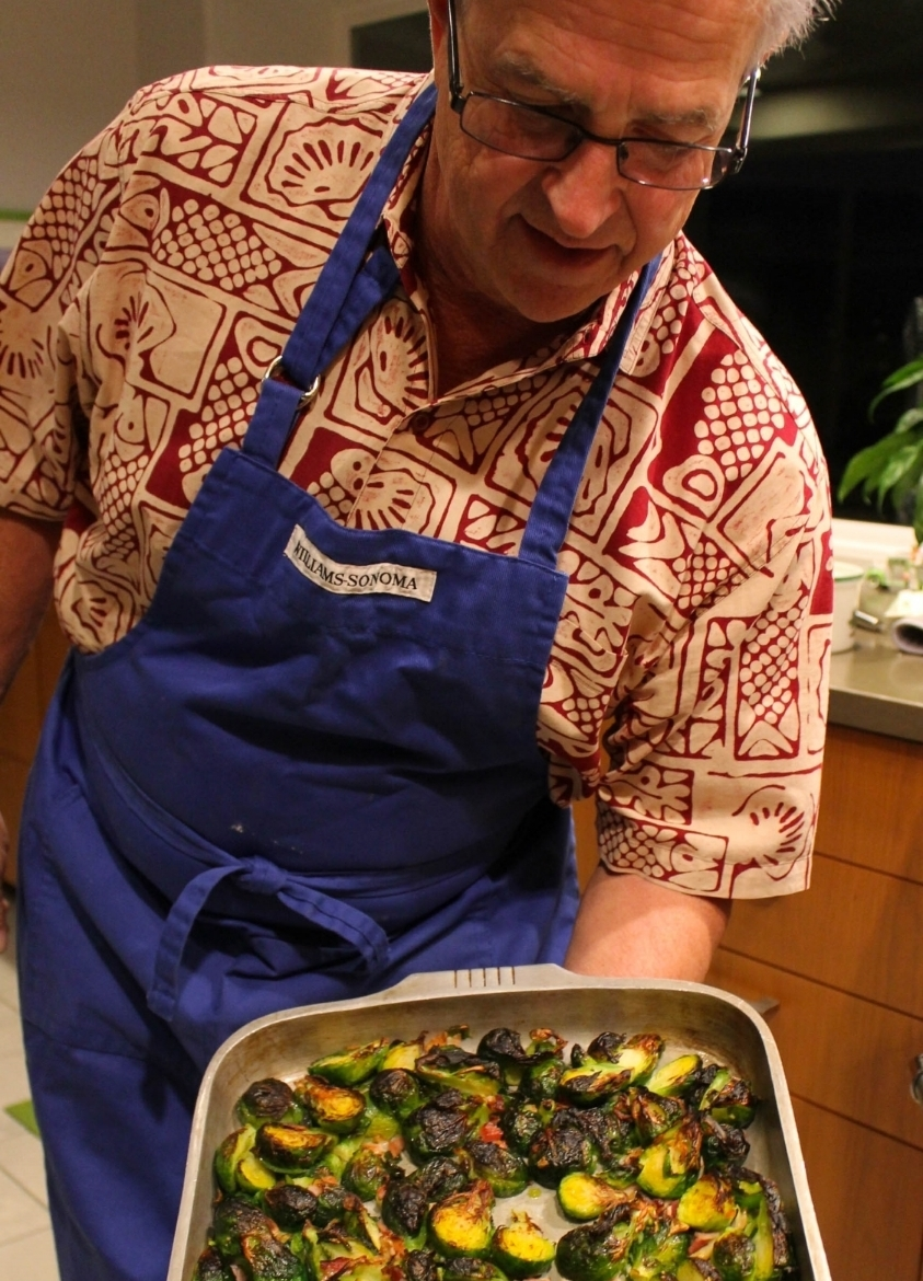 Dad showing off the brussels sprouts and pancetta.