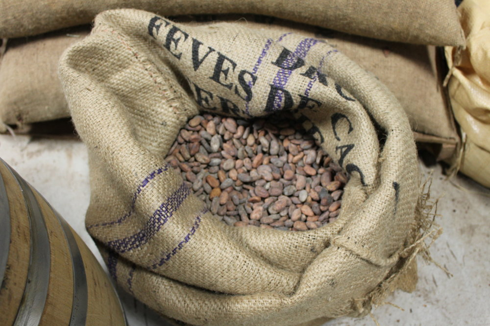 Raaka doesn't roast their beans, so the go from this bag to a separator, right to the grinder.