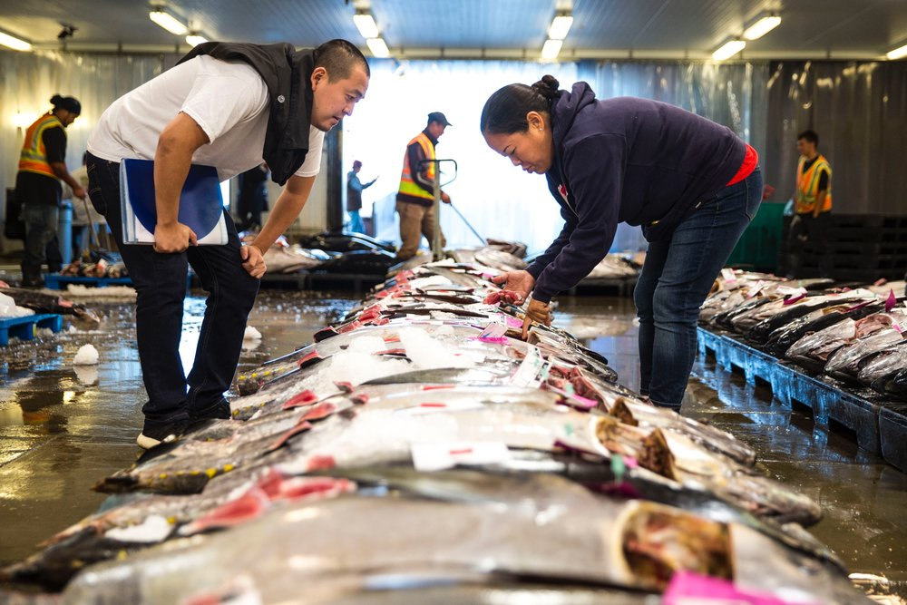 Chef Lee Anne (right) shopping for fish. Photo courtesy of Sweetcatch Poke.