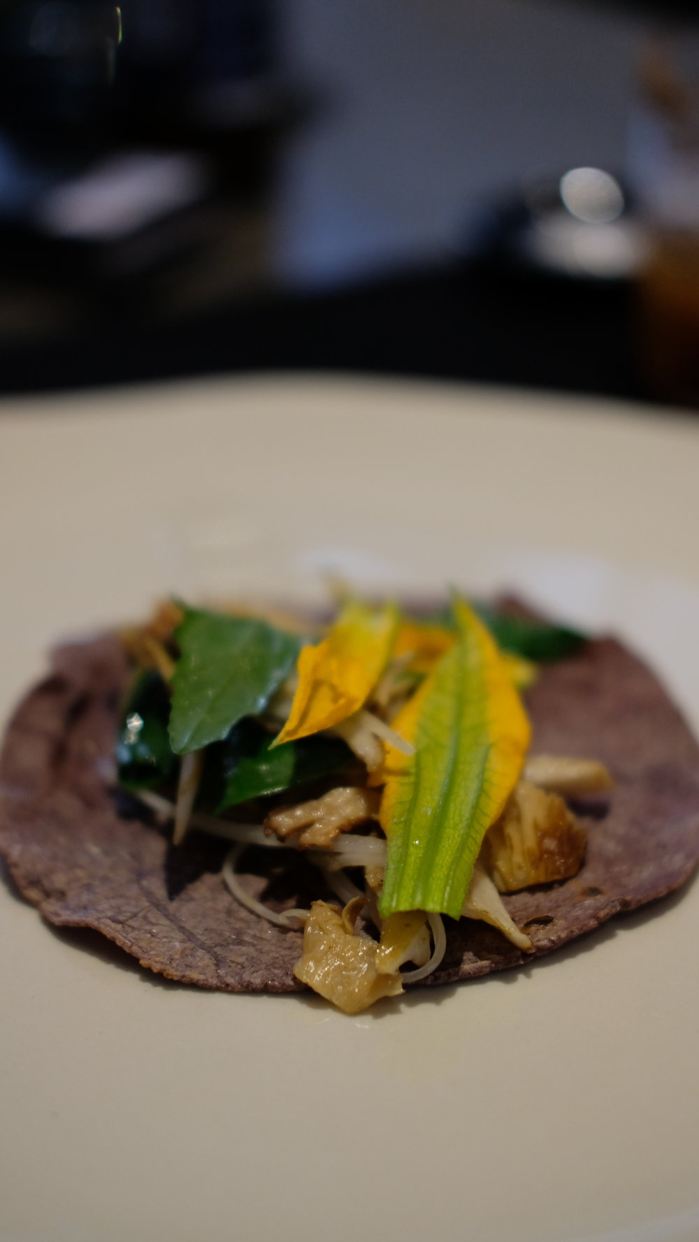 Mushroom with edible herbs on a red corn tortilla