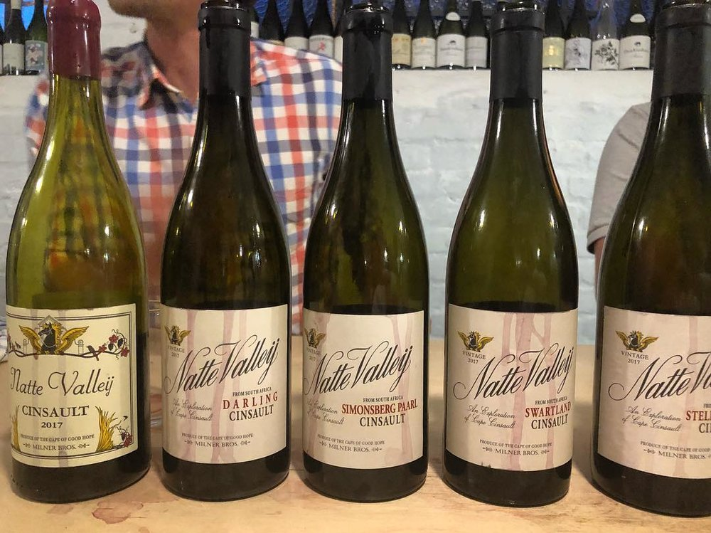 Natte Valleij's single-origin Cinsault wines. The grapes are grown around the Cape then harvested and turned into wine by the winemakers at Natte Valleij.