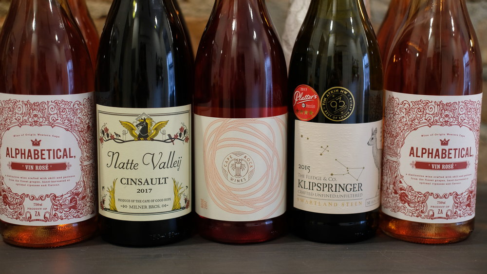 A selection of bottles from a few independent South African wineries.