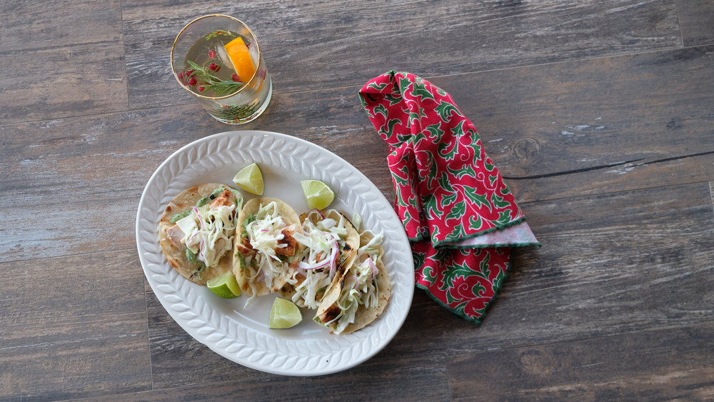 Fish tacos on Chef Abel's tortillas.