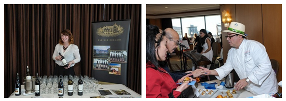 PICTURED ABOVE: As befitting a VIP event, attendees were invited to sip, sample and savor the best food and wines available in the Pacific Northwest including a dramatic display of fresh seafood by Jerry Chang of Chang International.