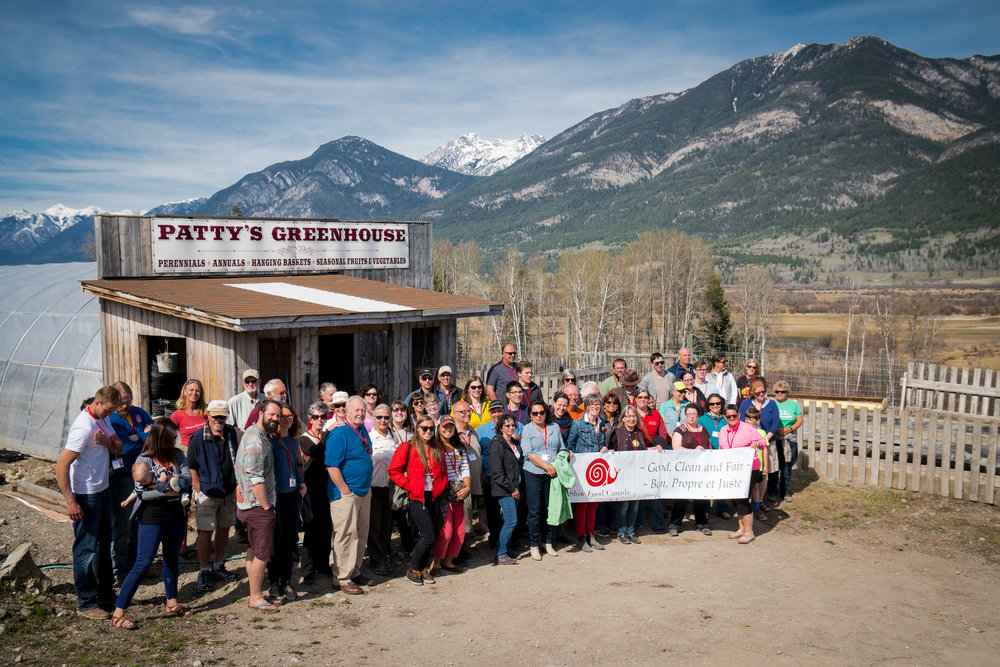 The 2016 Slow Food Canada delegation in Invermere, British Columbia, visiting a local farm: Patty's Greenhouse
