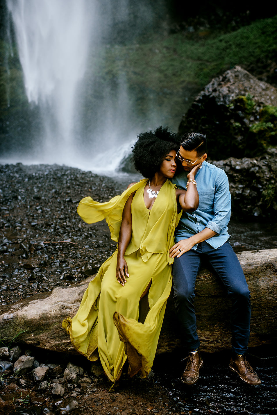 engagement session at a waterfall