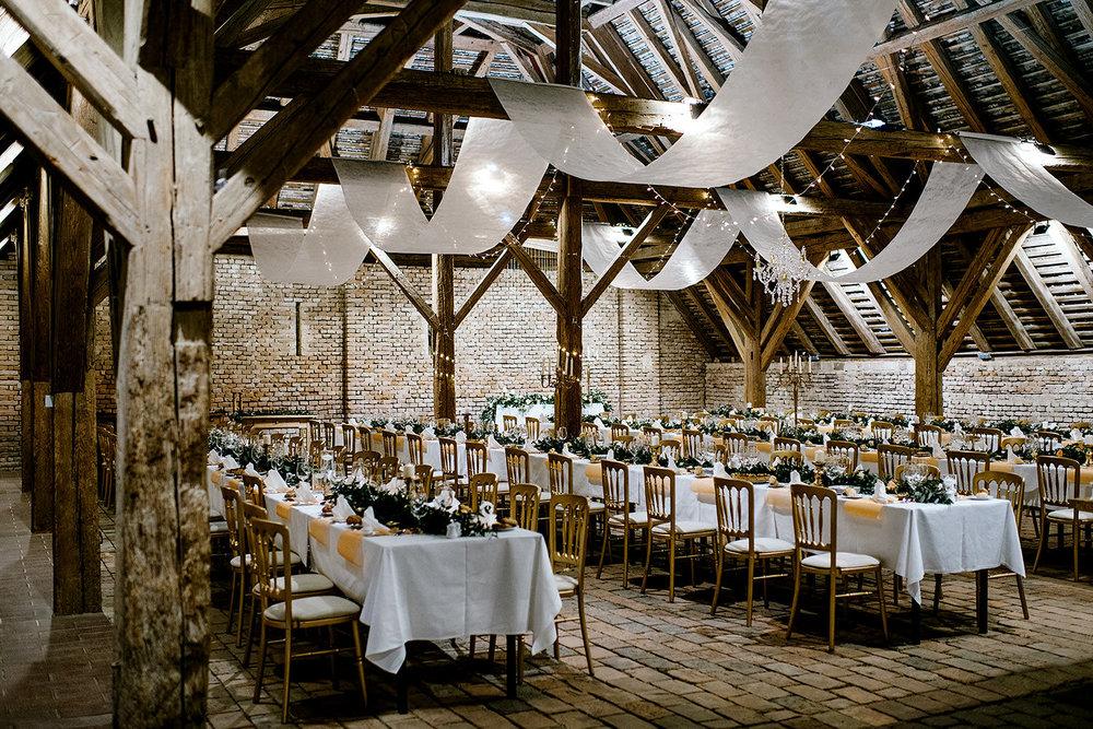 Austria barn wedding reception details