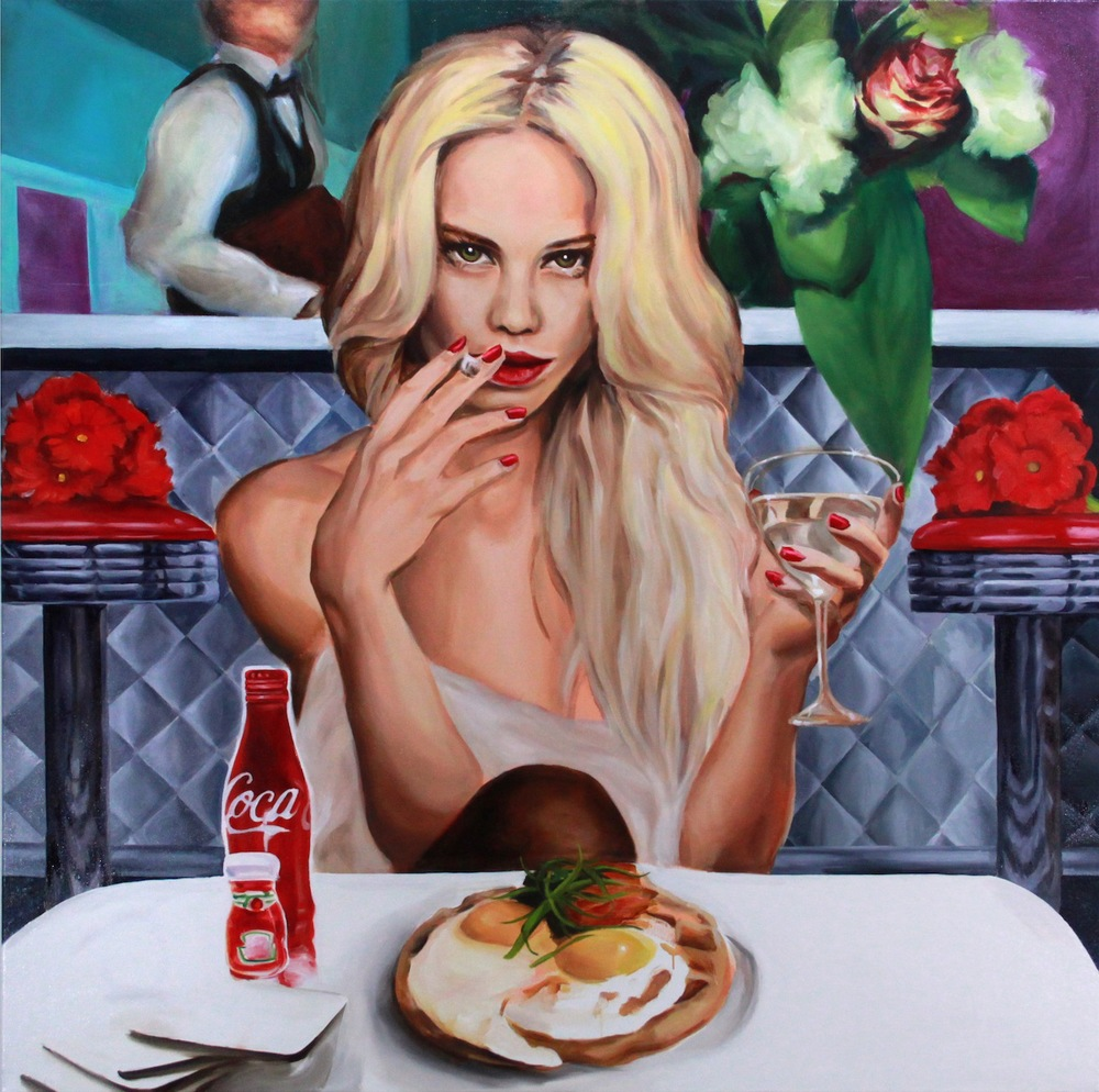 "The Breakfast Queen of Belvedere 48 x 48""  oil on canvas 2013"