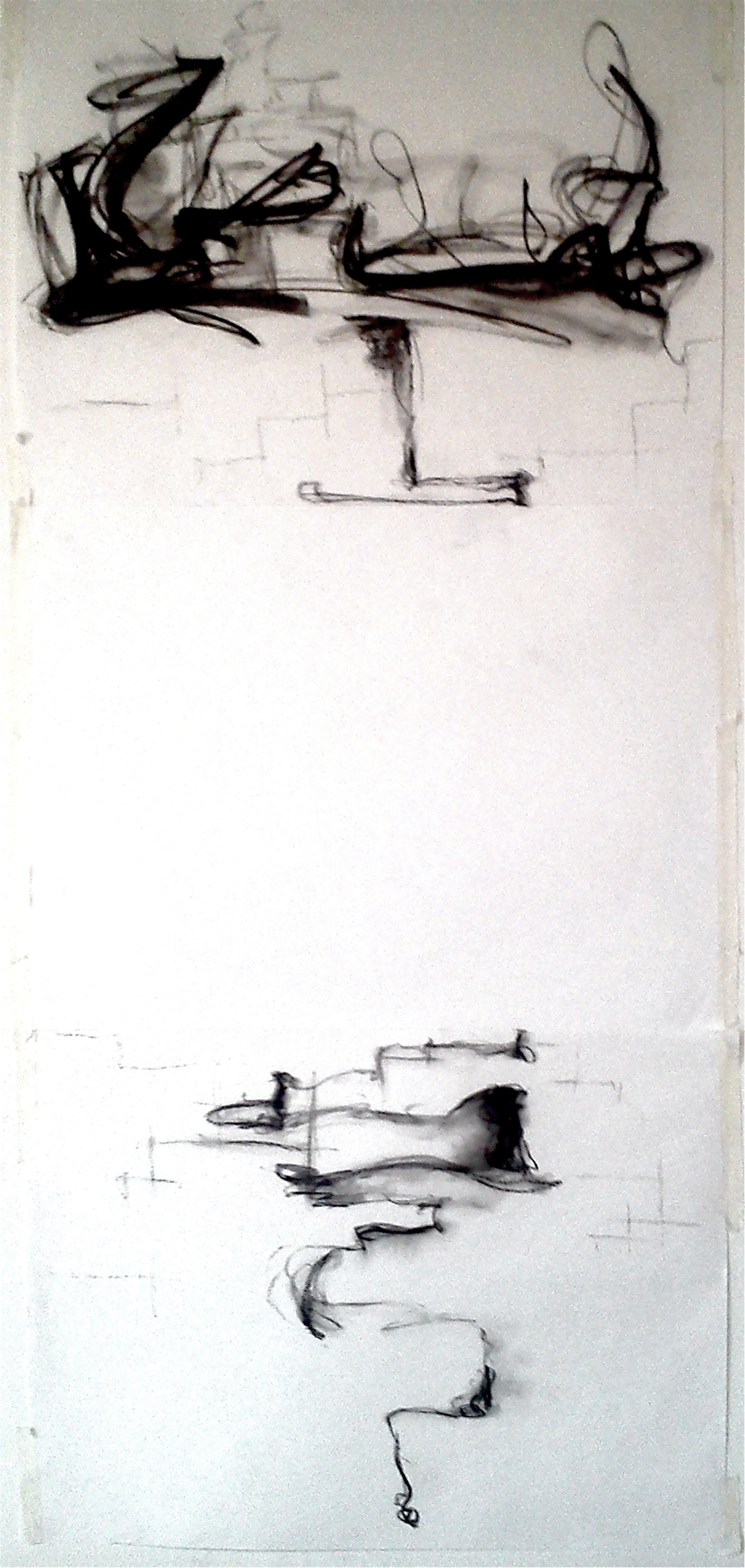 "Walking Blind 33 x 11"" Charcoal on paper"