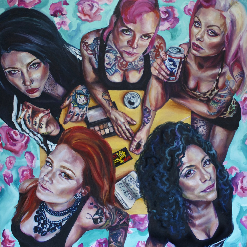 "No crying at the after party 65 x 65"" oil on canvas 2015"