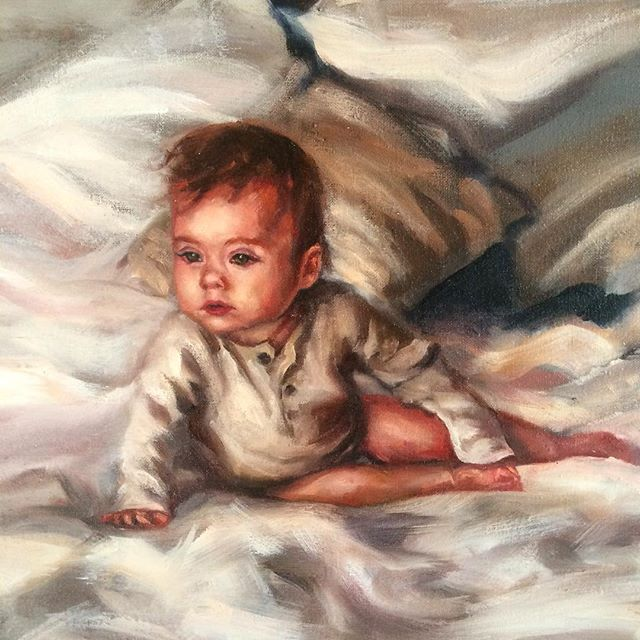 "Detail of ""Baby Everly""  32 x 36 inches, oil on linen. #sleepybabe #painting #oil #baby #portrait #family #niece #oilpainting #babypainting #portraitart #subdued #sleepy #mood #bed #babe #unmadebed #love #everlyjane by #laceyjaneart @loverlylifestyle"