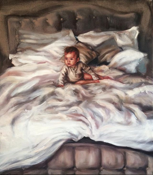 Painting of Baby Everly, my precious niece as a christmas gift to my parents. 32 x 36 inches, oil on linen. #laceyjaneart #painting #oil #baby #portrait #family #niece #oilpainting #babypainting #portraitart #subdued #sleepy #mood #bed #sleepybabe #babe #unmadebed #love #everlyjane @loverlylifestyle
