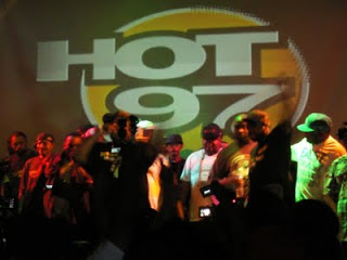 Rae behind Nore and Capone- album release party under Rae's label- SOB's