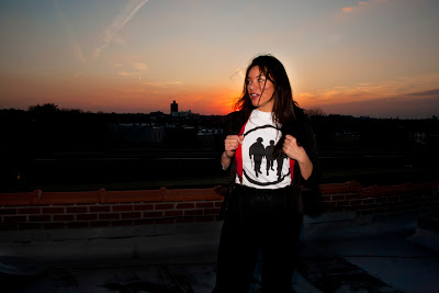 me on my roof in BK reppin' Riots and Roses ( http://www.riotsandroses.com/ ) photo- Amy Klein