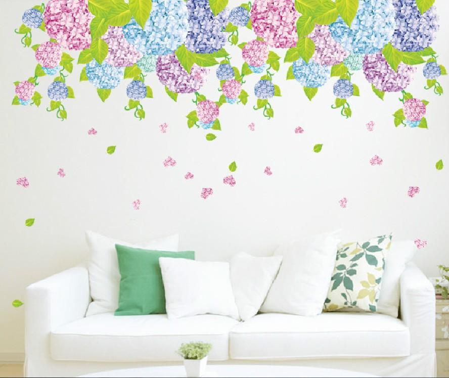 free-shipping-one-piece-multicolor-hydrangea-flower-wall-sticker-for-DIY-house-decor-50-70-cm.jpg