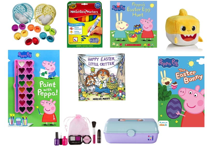 Sources :  Easter matching eggs ,  washable markers ,  Peppa book ,  Baby shark  toy,  Paint with Peppa workbook ,  Little Critter book ,  Pretend make up , mini  Caboodle  and  Peppa dvd .