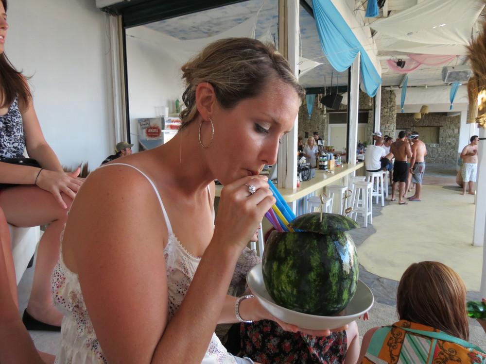 Sipping a fresh juice in Mykonos, Greece