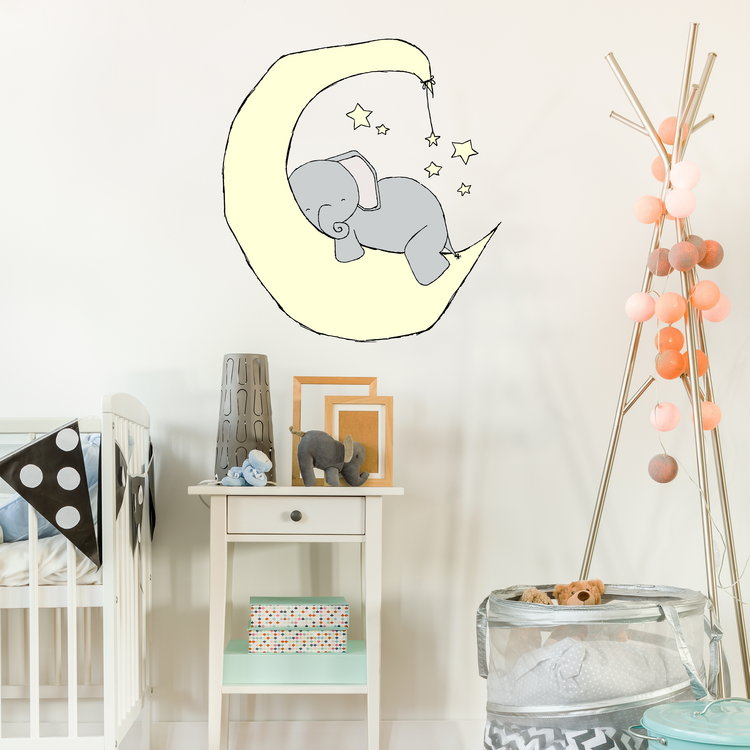wall decal- elephant moon dream — sweet melody designs