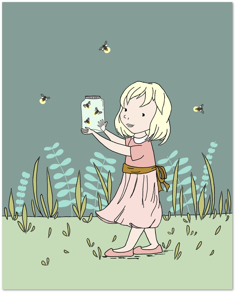 Girl Nursery Art Catching Fireflies Sweet Melody Designs