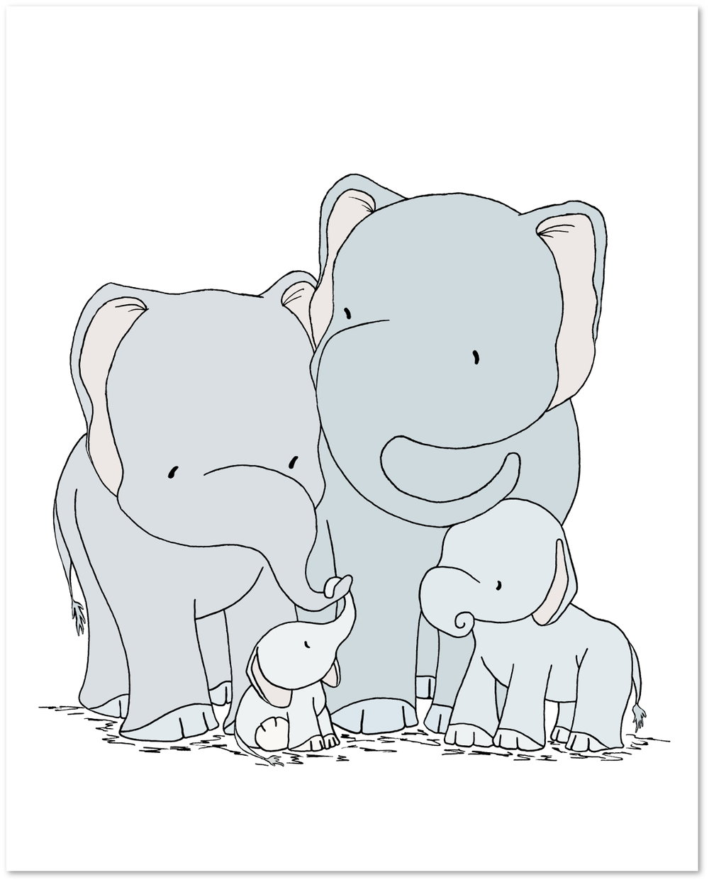 Elephant Nursery Art - Elephant Family of Four — Sweet ...