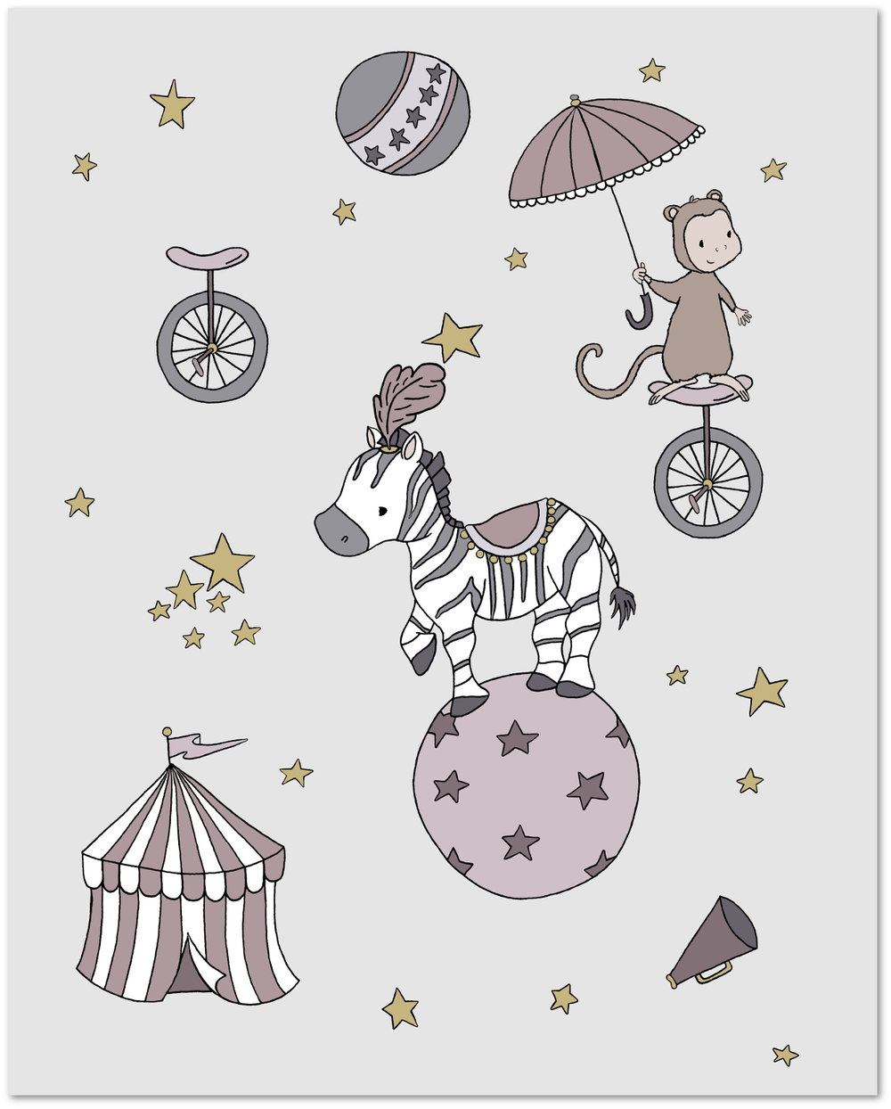 Circus Dreams - Zebra and Monkey - Circus Nursery Art