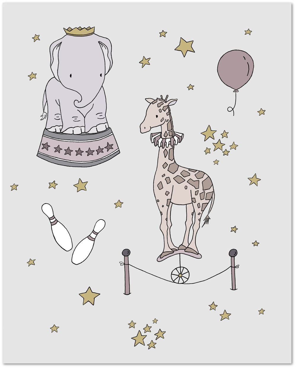 Circus Dreams - Elephant and Giraffe - Circus Nursery Art