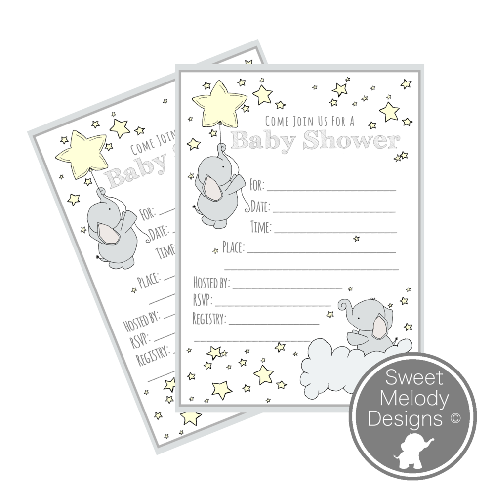 Printable Baby Shower Invitations Elephants and Stars Pale