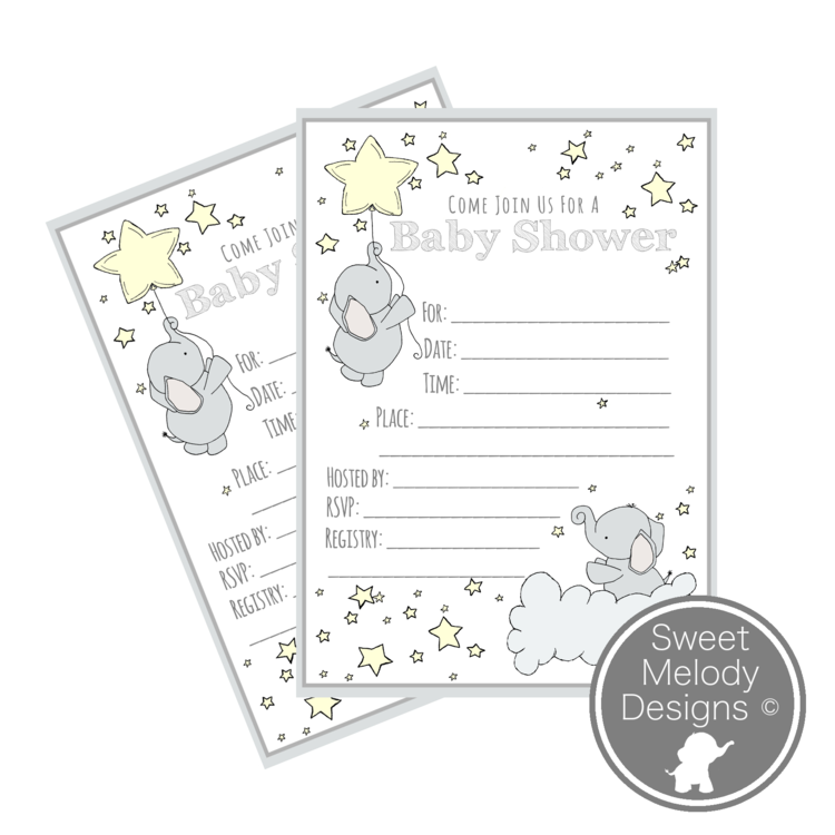 Printable Baby Shower Invitations - Elephants and Stars - Pale ...