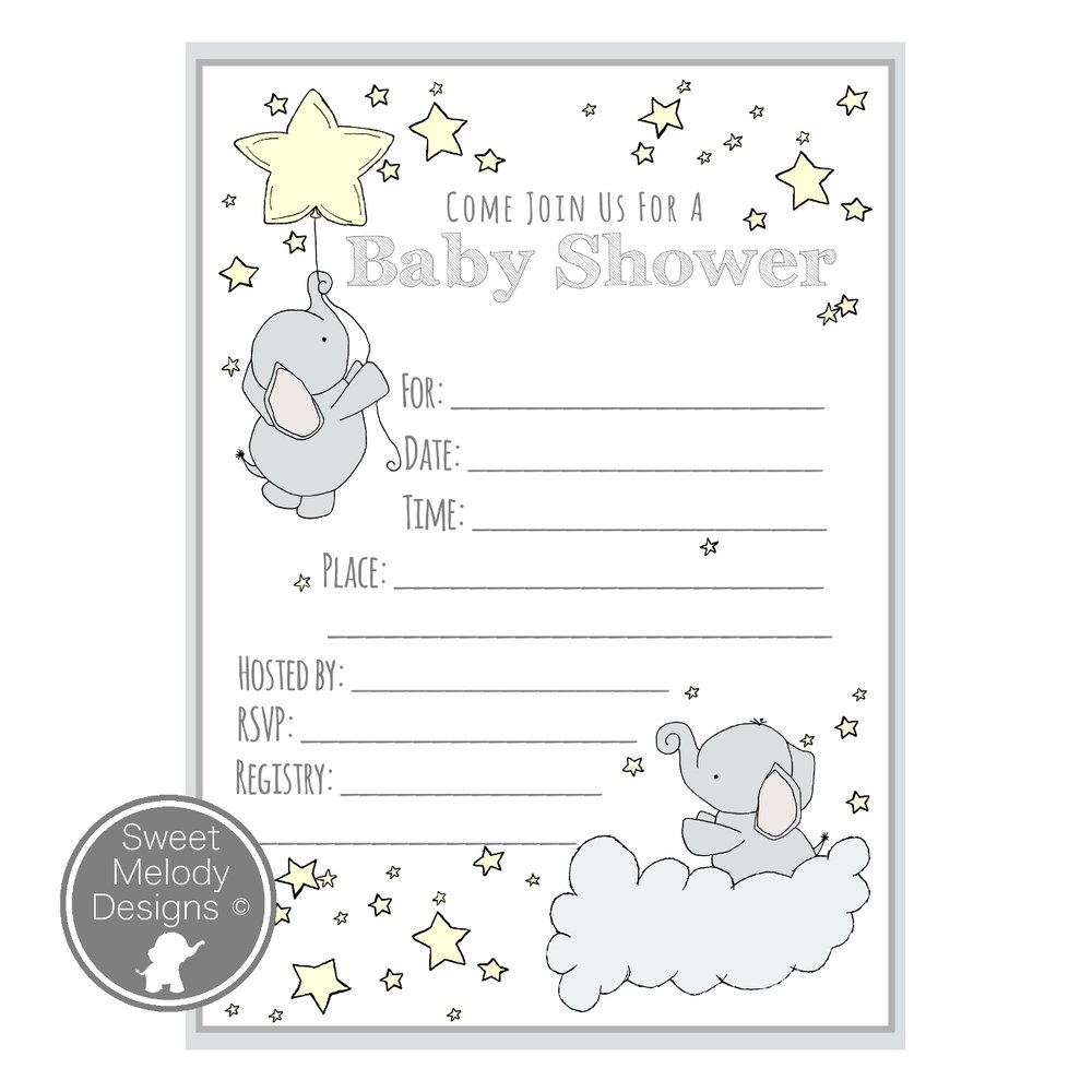 Printable Baby Shower Invitations   Elephants And Stars   Pale Yellow U0026 Gray  Printable Baby Shower Invite
