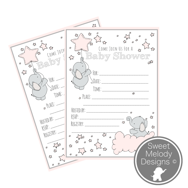 Printable Baby Shower Invitations - Elephants and Stars - Pink ...