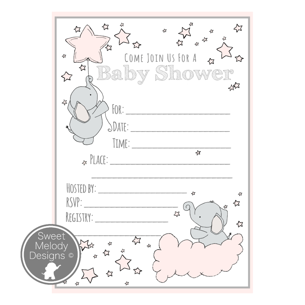 ... Printable Baby Shower Invitations   Instant Download   PDF Blank Invites    Elephants And Stars