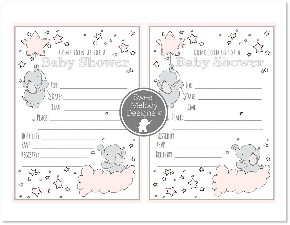 Printable Baby Shower Invitations   Elephants And Stars   Pink U0026 Gray
