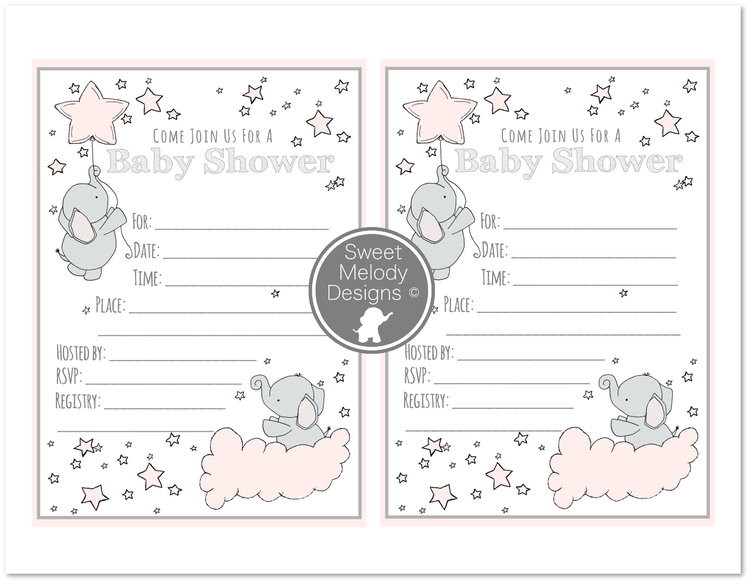 Printable Baby Shower Invitations Elephants And Stars Pink